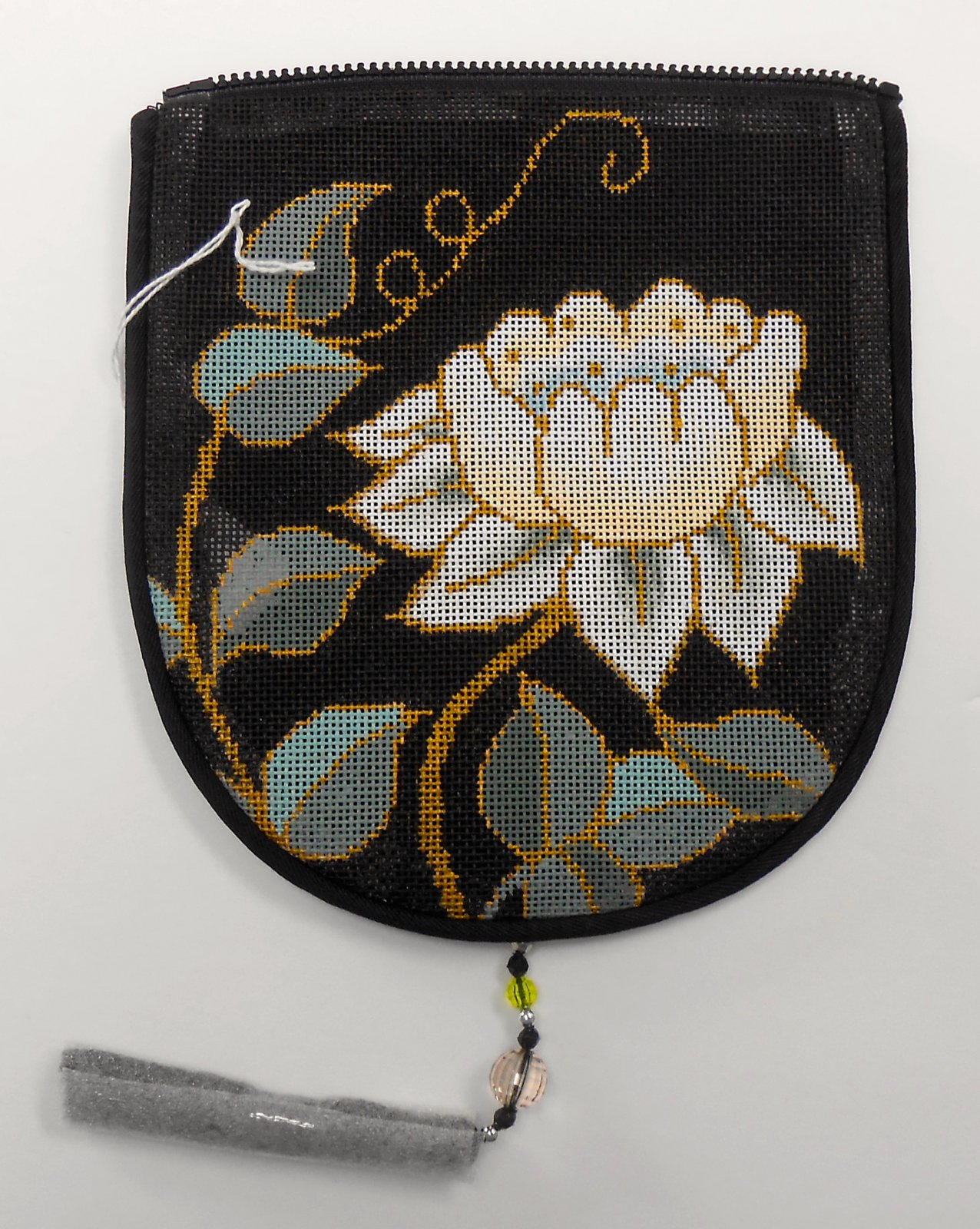 White Flower on Black, Purse Flap