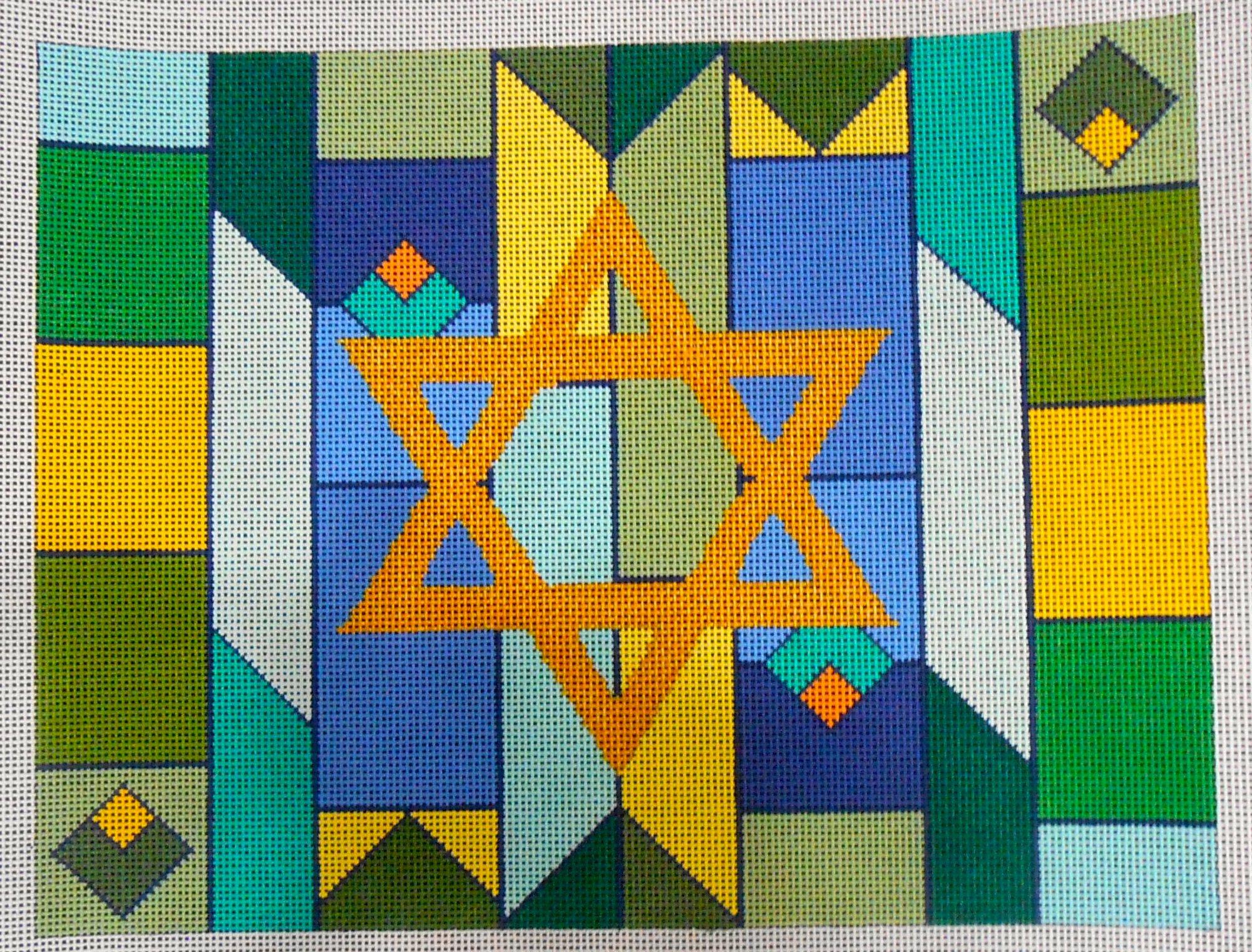 Geometric Blue and Green Tallis Bag
