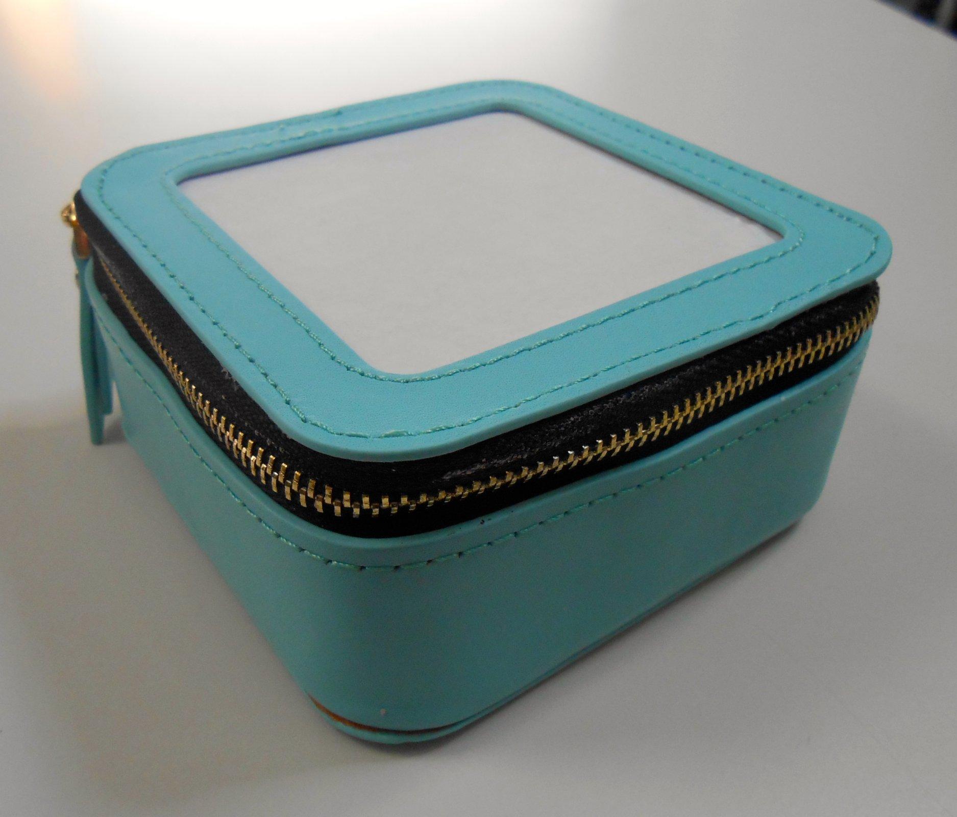 Leather Jewelry Case - Aqua