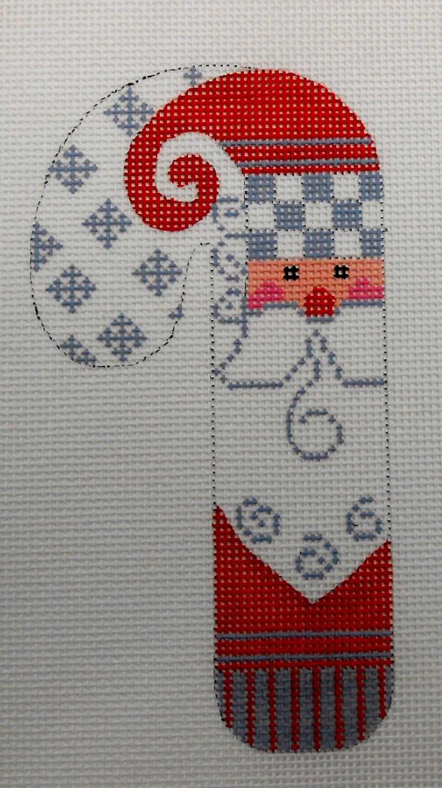 Gray Checkered Santa Candy Cane