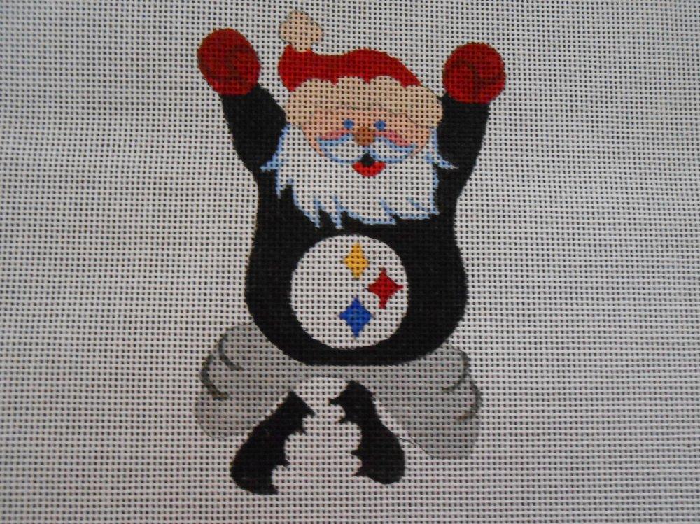 Cheering Steelers Santa Ornament