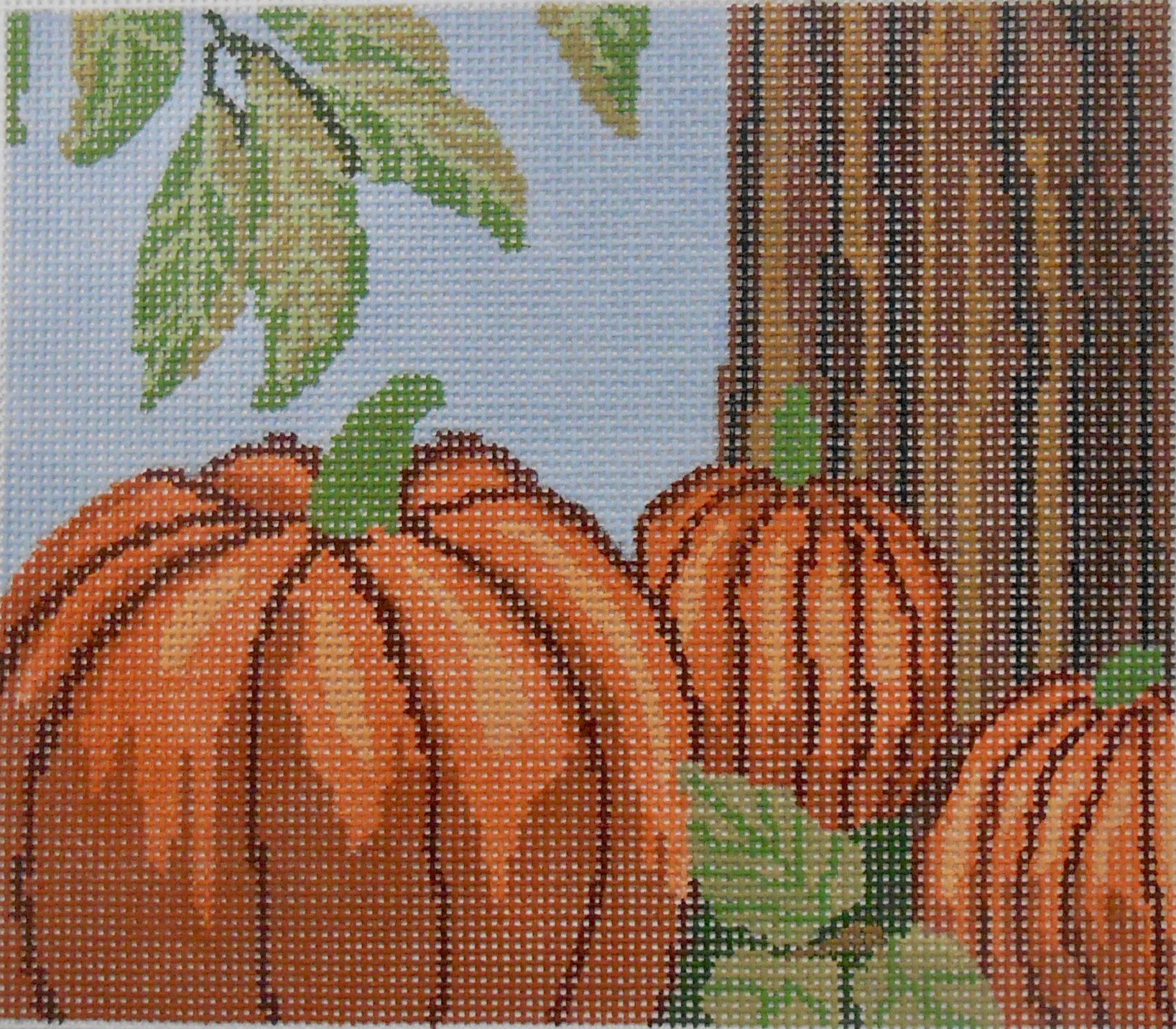 Three Pumpkins at Tree Trunk