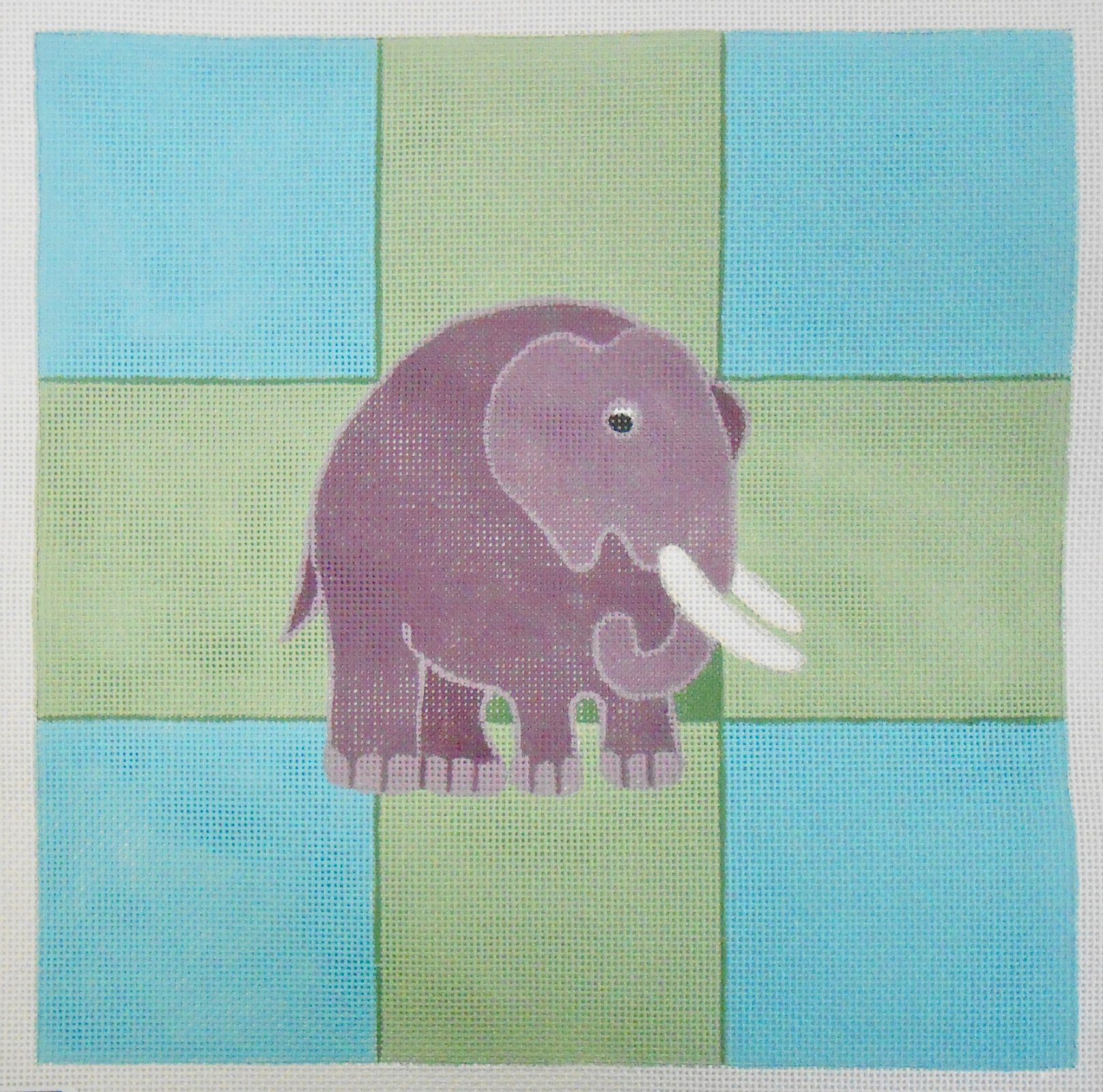 Elephant on Blue and Green