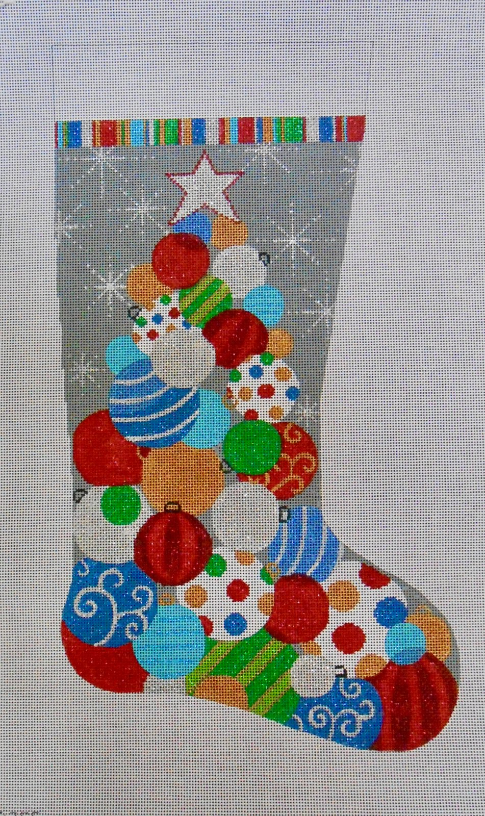 Stacked Ornaments Stocking