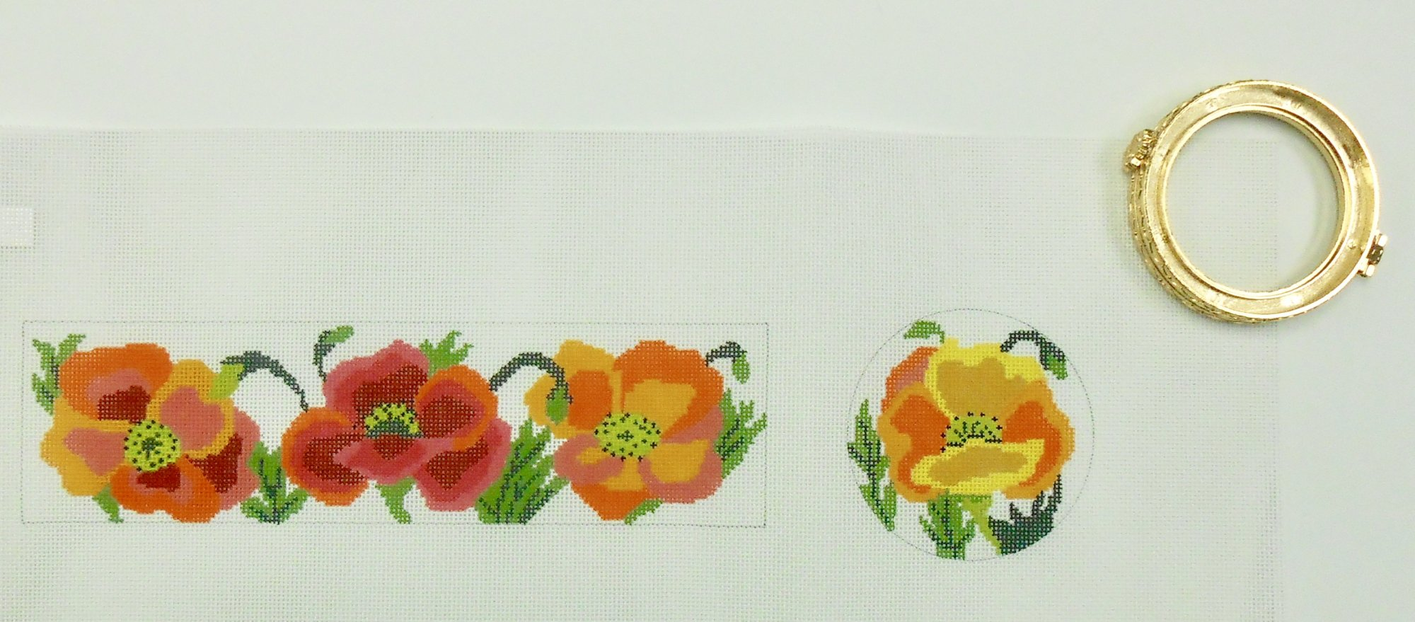 Poppies Hinged Box - Round