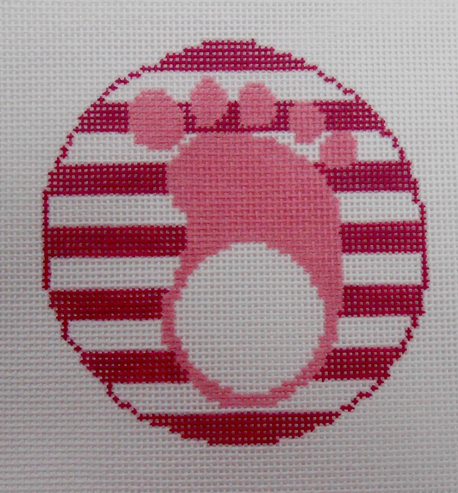 Pink Baby Footprint Round