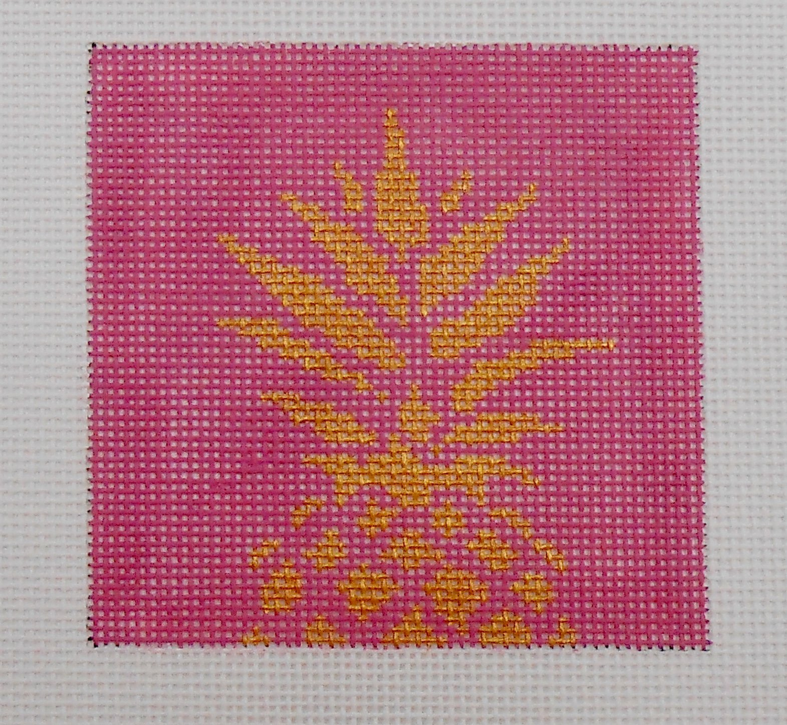 Gold Pinapple Stencil on Pink Square