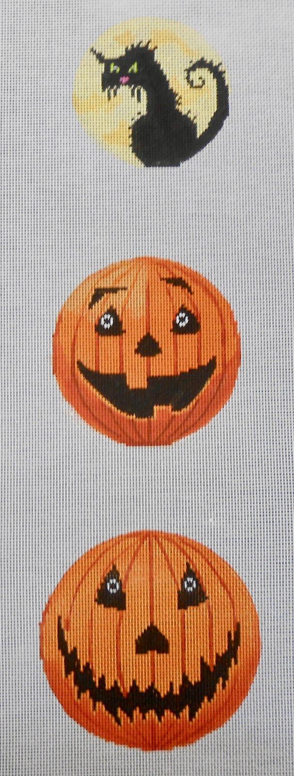 Three Piece Halloween ornament - 2 pumpkins & 1 cat