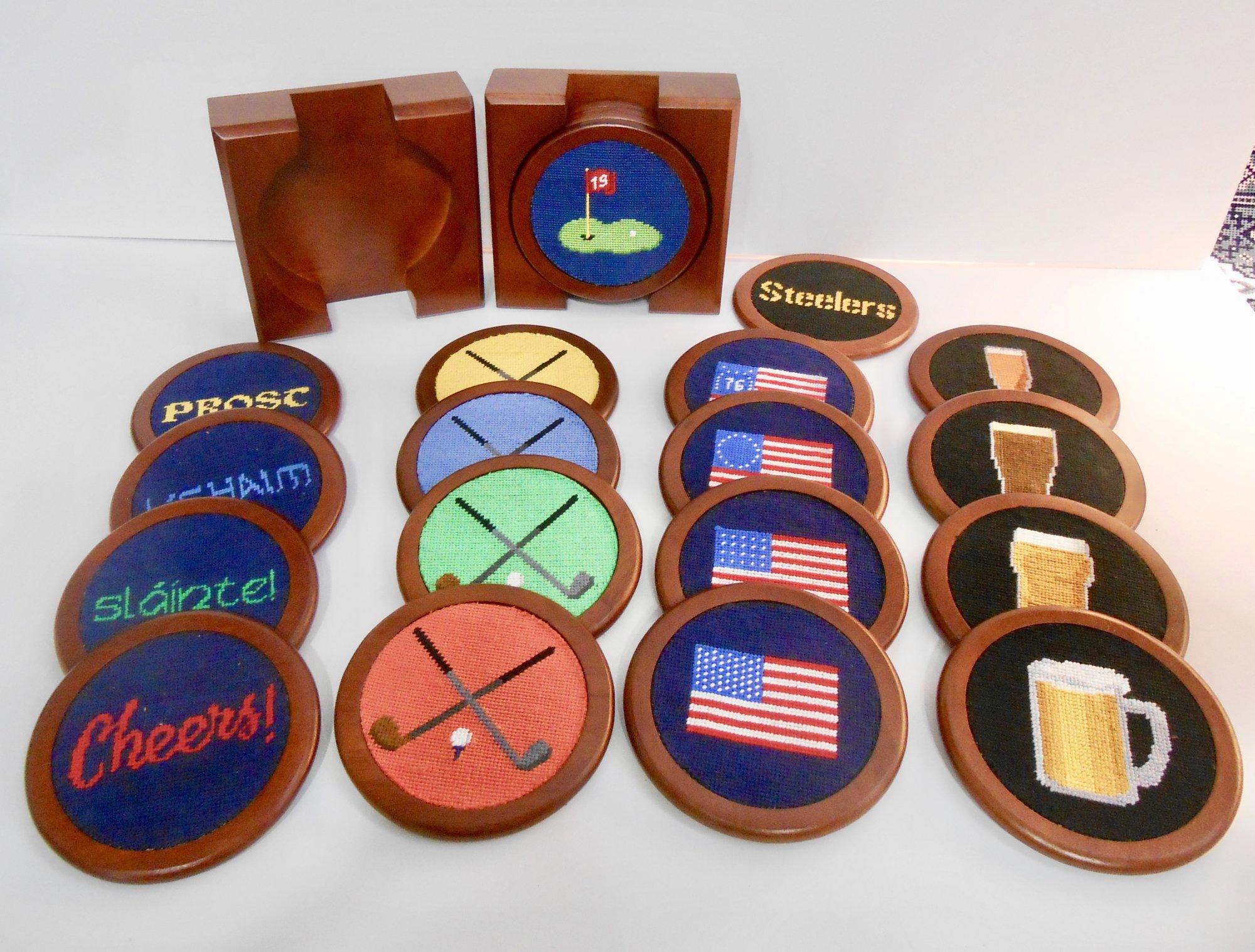 Needlepointed Coasters