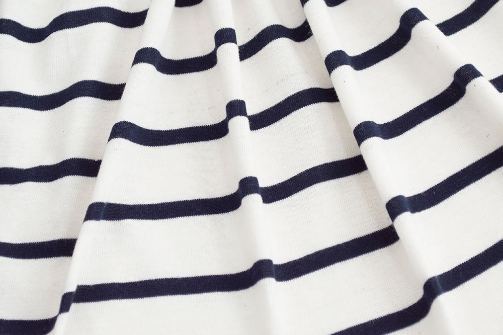 Designer Fabric Stripes - White/Navy