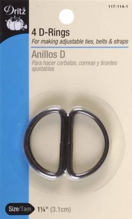 Dritz - D-Ring Black 1 1/4in 4ct