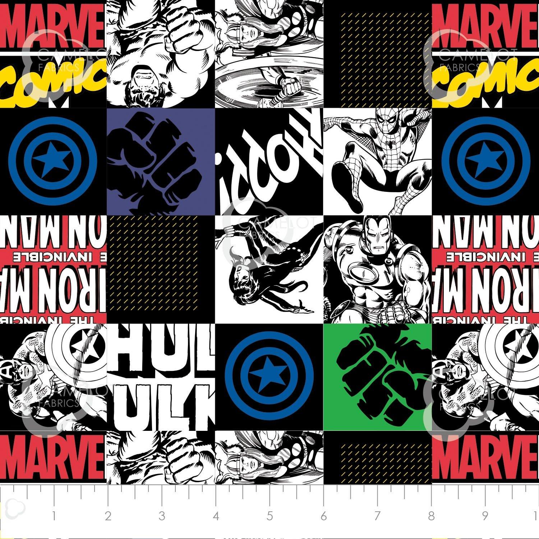 Camelot Fabrics  - Avengers - Hero Blocks - Black