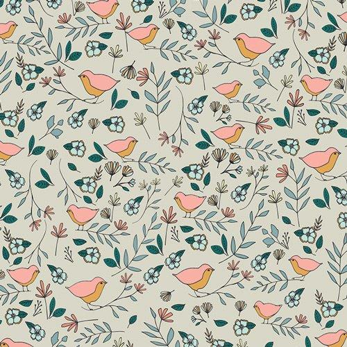 Art Gallery Fabrics - Love Story - Lovebirds - Celeste