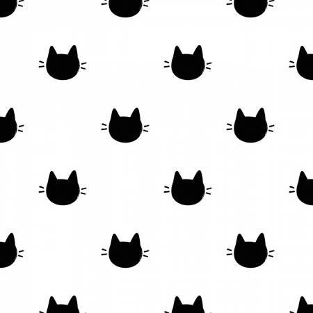 Camelot Fabrics  - Meow - White Kitty Dots