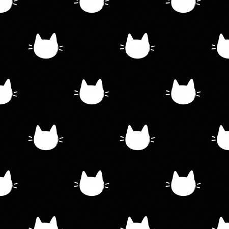 Camelot Fabrics  - Meow - Black Kitty Dots