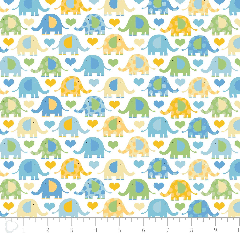 Camelot Fabrics - Elephant Printed Flannel - Blue