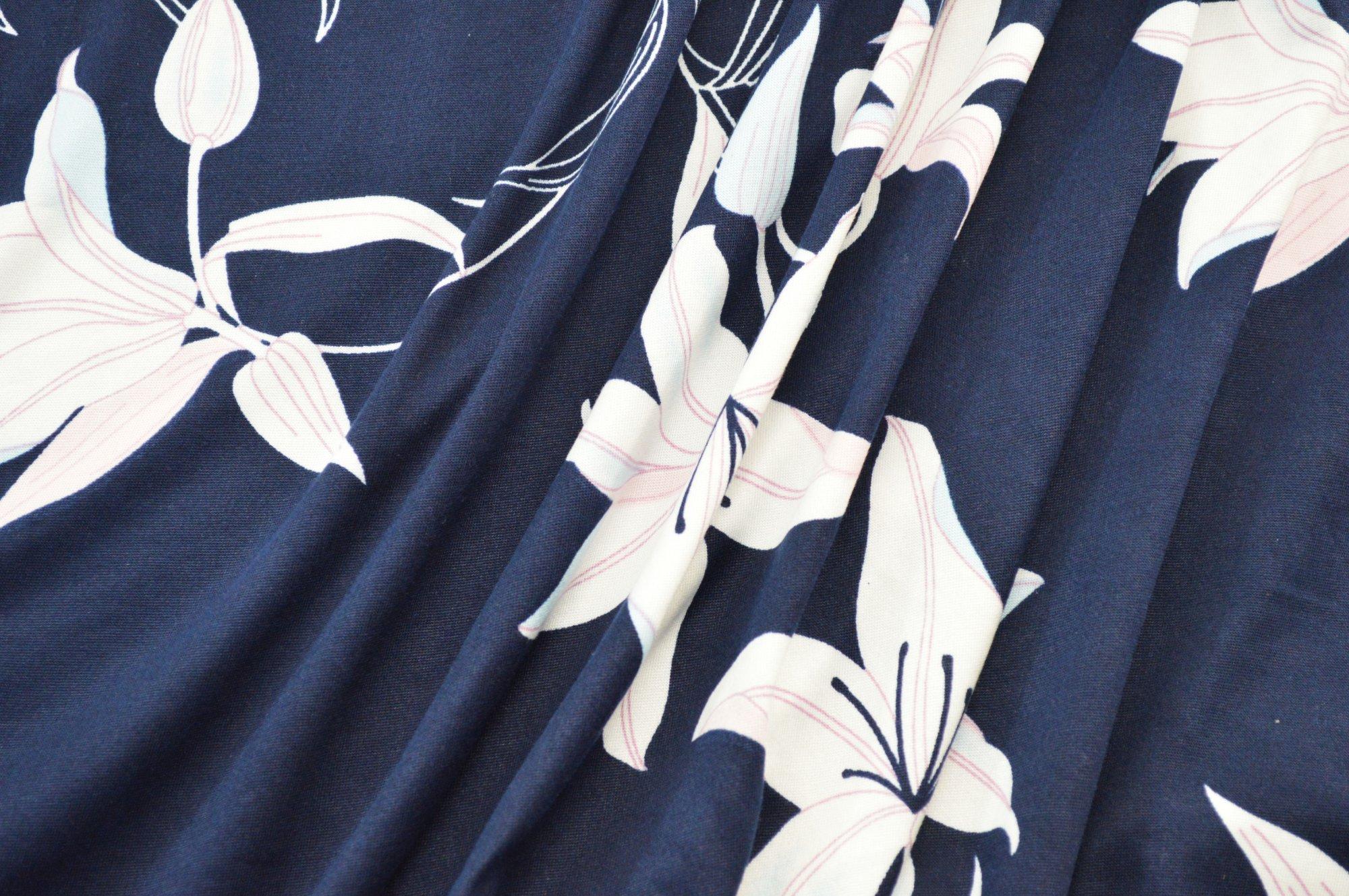 Single Brushed Translucent Floral on Navy