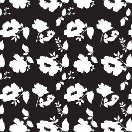 Camelot Fabrics  - Simply Fashionista - Flower Silhouette - Black