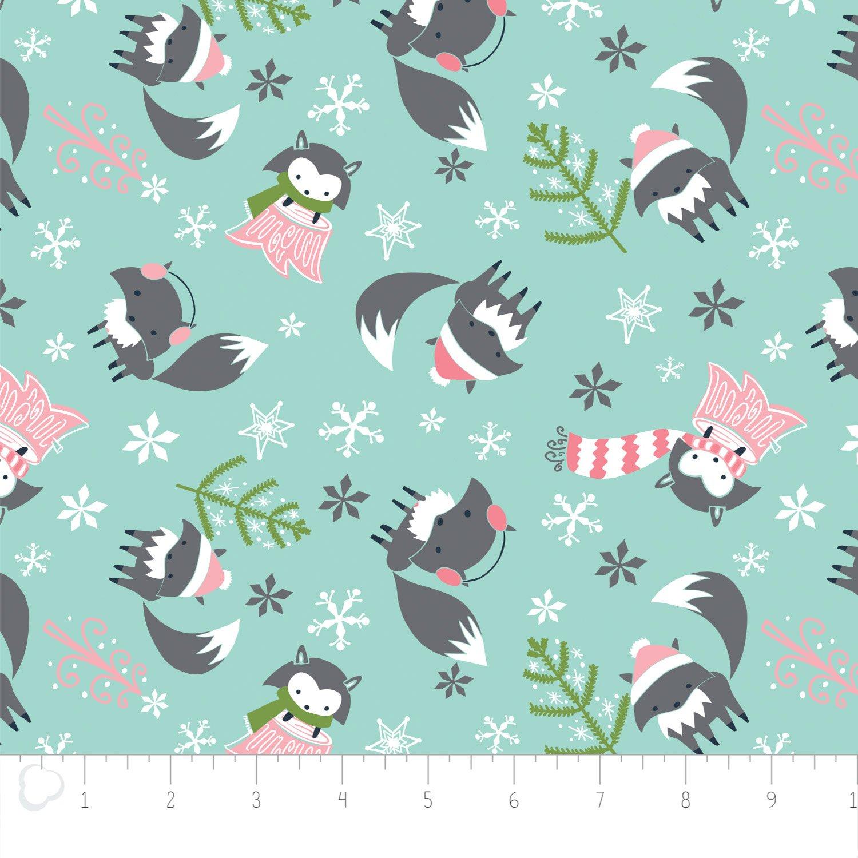 Camelot Fabrics - Winter Fox - Aqua