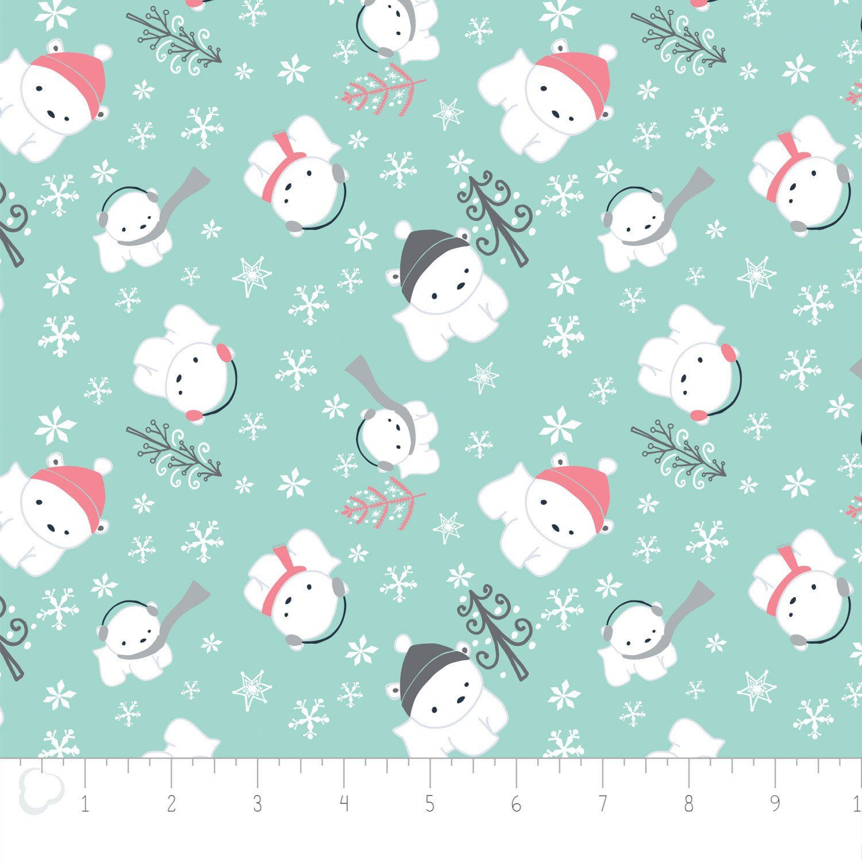 Camelot Fabrics - Polar Cubs - Aqua