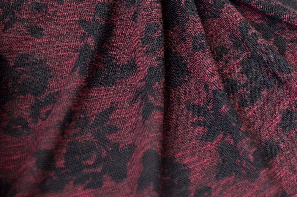 Hacci Fashion Knit Roses Burgundy/Black