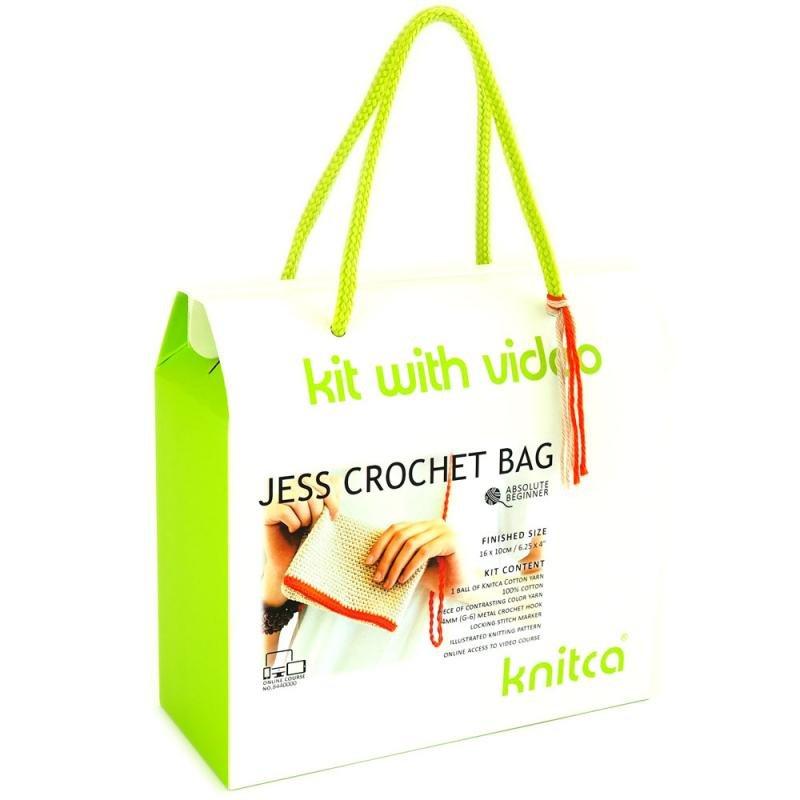 knitca - Jess Crochet Bag - Tan and Crimson