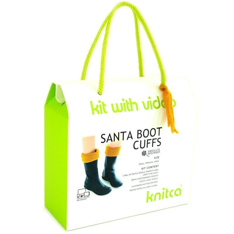 knitca - Santa Boot Cuffs - Dark Goldenrod