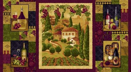 Henry Glass - Tuscany by Color Principle Collection - Burgundy Tuscany Panel
