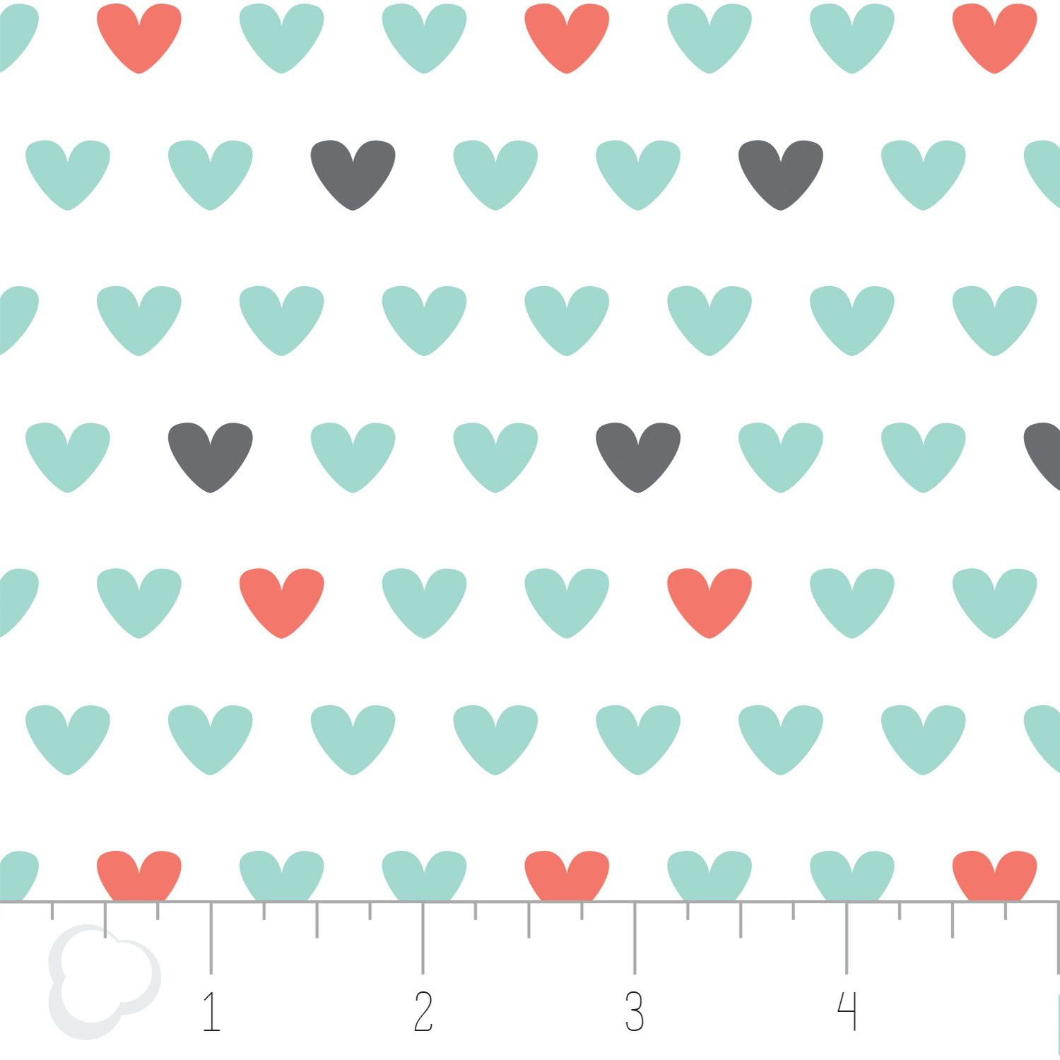 Camelot Fabrics - Hearts Printed Flannel - White