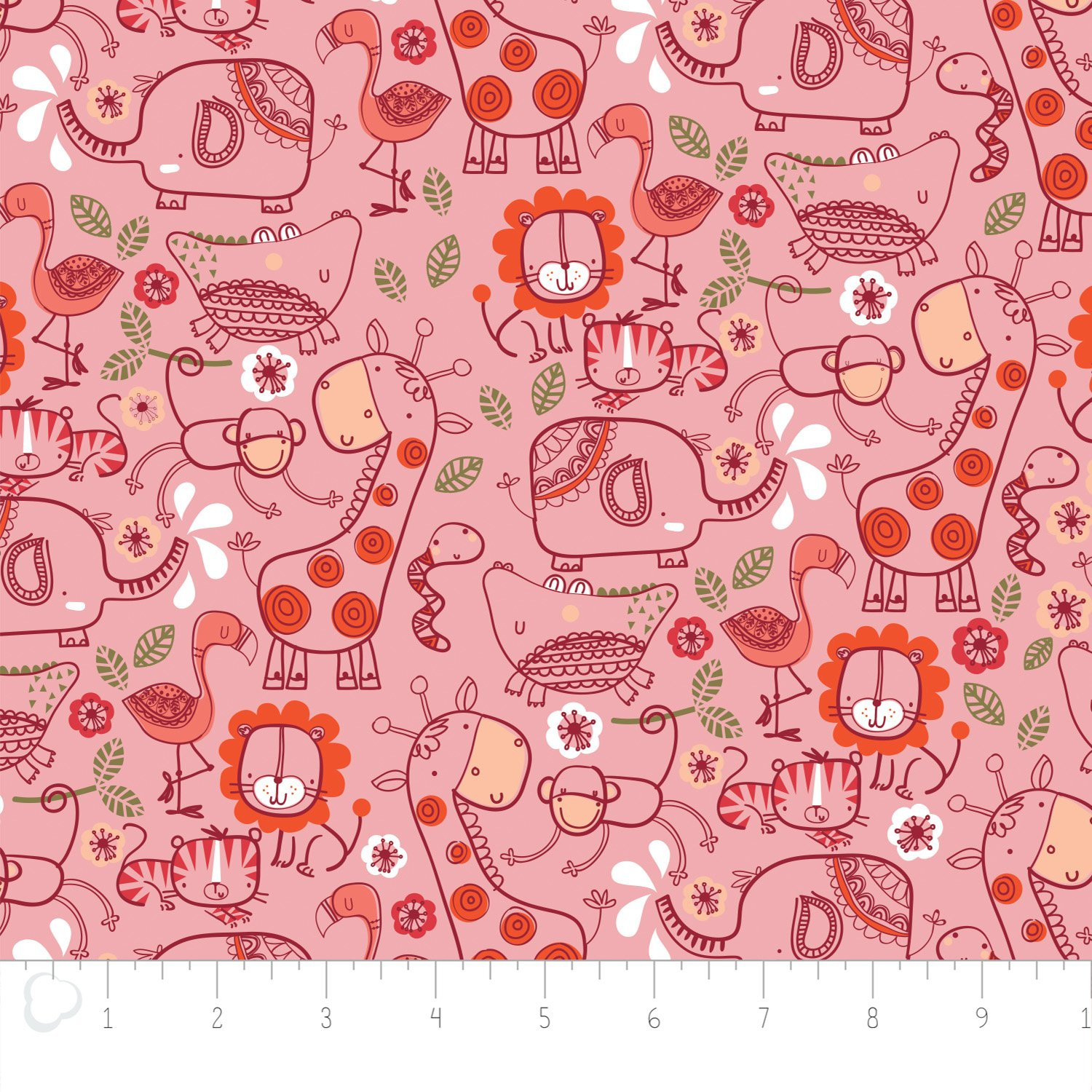 Camelot Fabrics - Jungle Line Art Printed Flannel - Pink