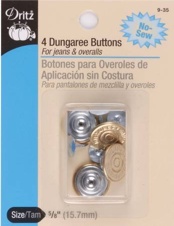 Dritz -  4 Dungaree Buttons - 5/8 inch