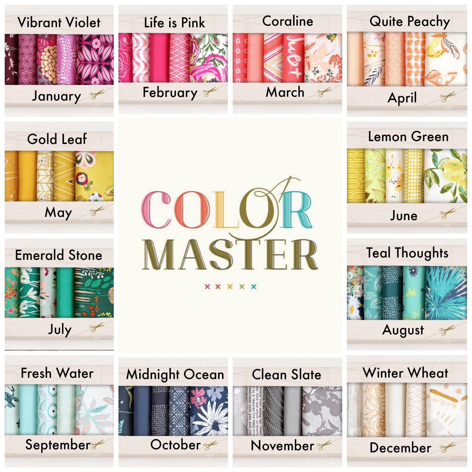 Art Gallery Fabrics - Color Master - Emerald Stone - 10 Half Yard Bundles