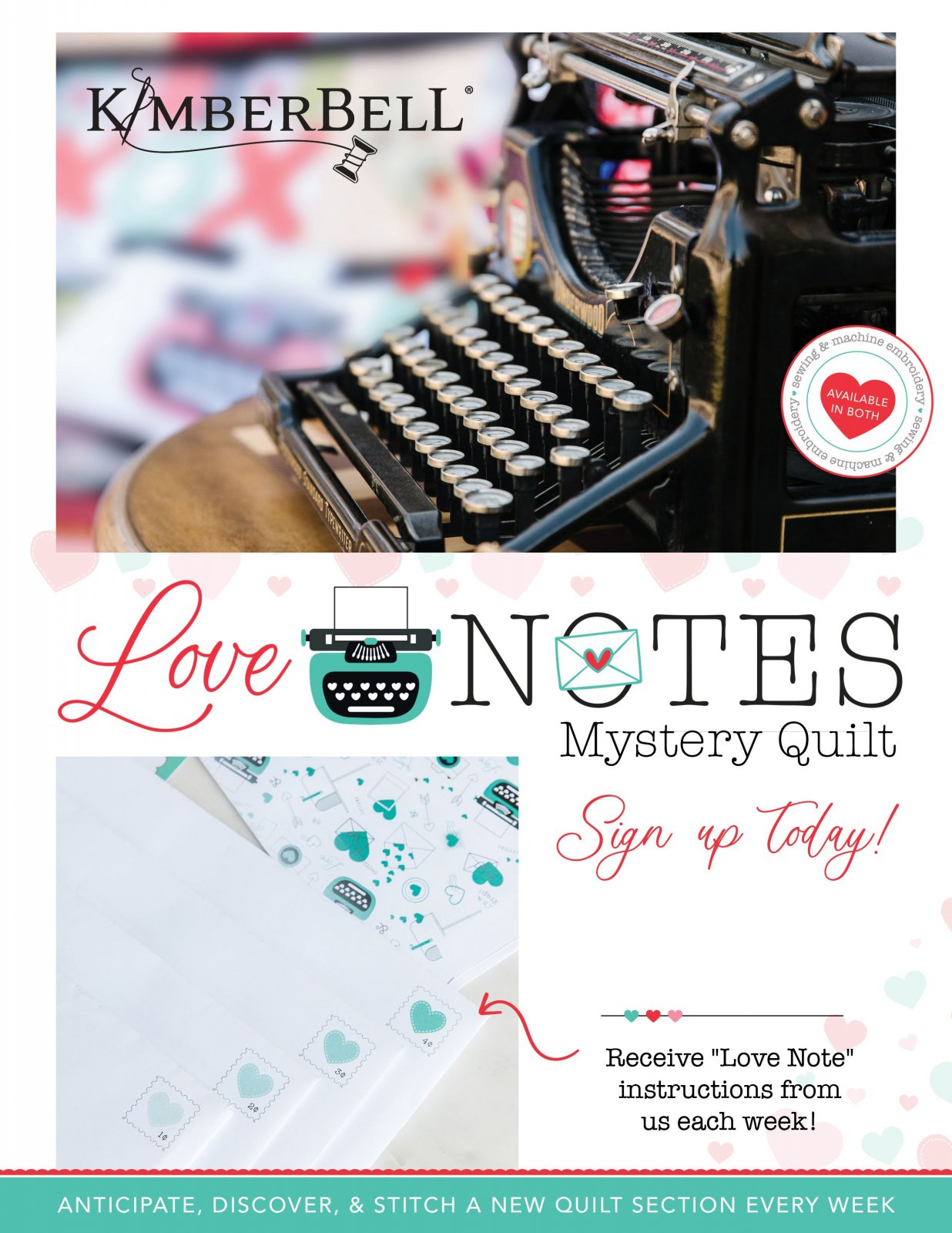 Kimberbell - Love Notes Mystery Quilt BOM - Sewing