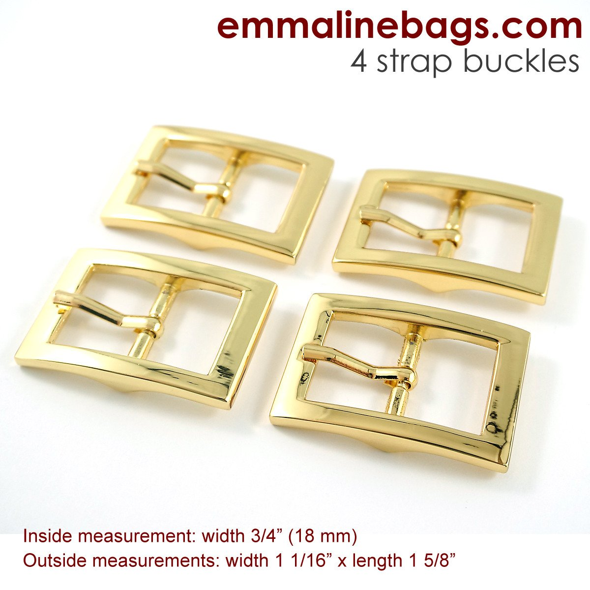 Emmaline - Buckles: 3/4 (18 mm) in Gold (4 Pack)