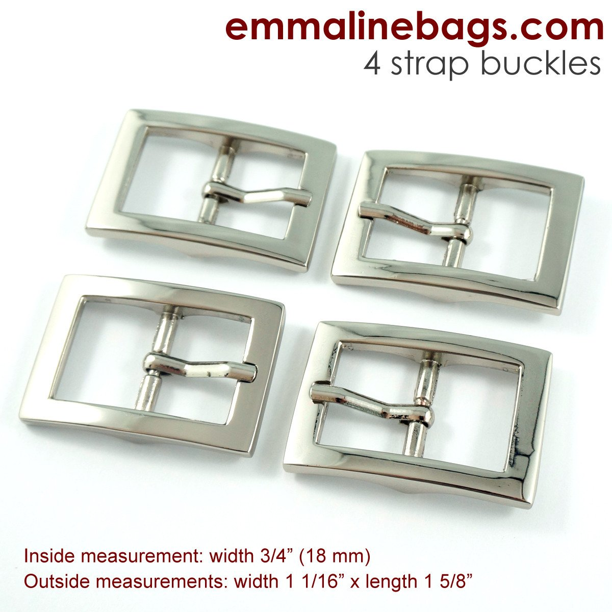 Emmaline - Buckles: 3/4 (18 mm) in Nickel (4 Pack)