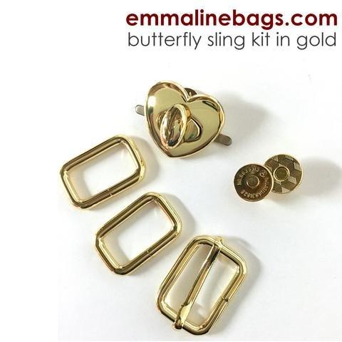 Emmaline - the Butterfly Sling Hardware Kit - Heart Lock Gold