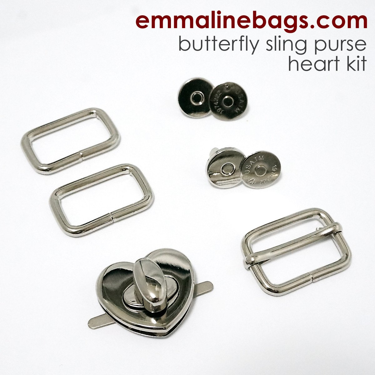 Emmaline - the Butterfly Sling Hardware Kit - Heart Lock Nickel