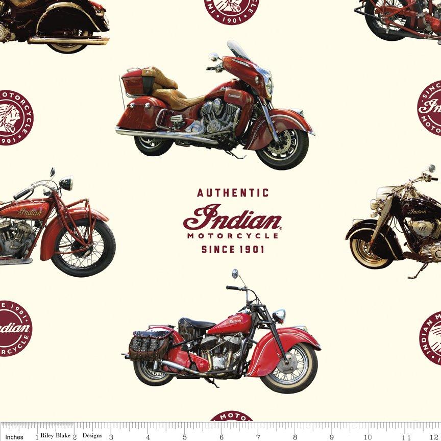 Riley Blake Designs - Indian Motorcycle - Cream