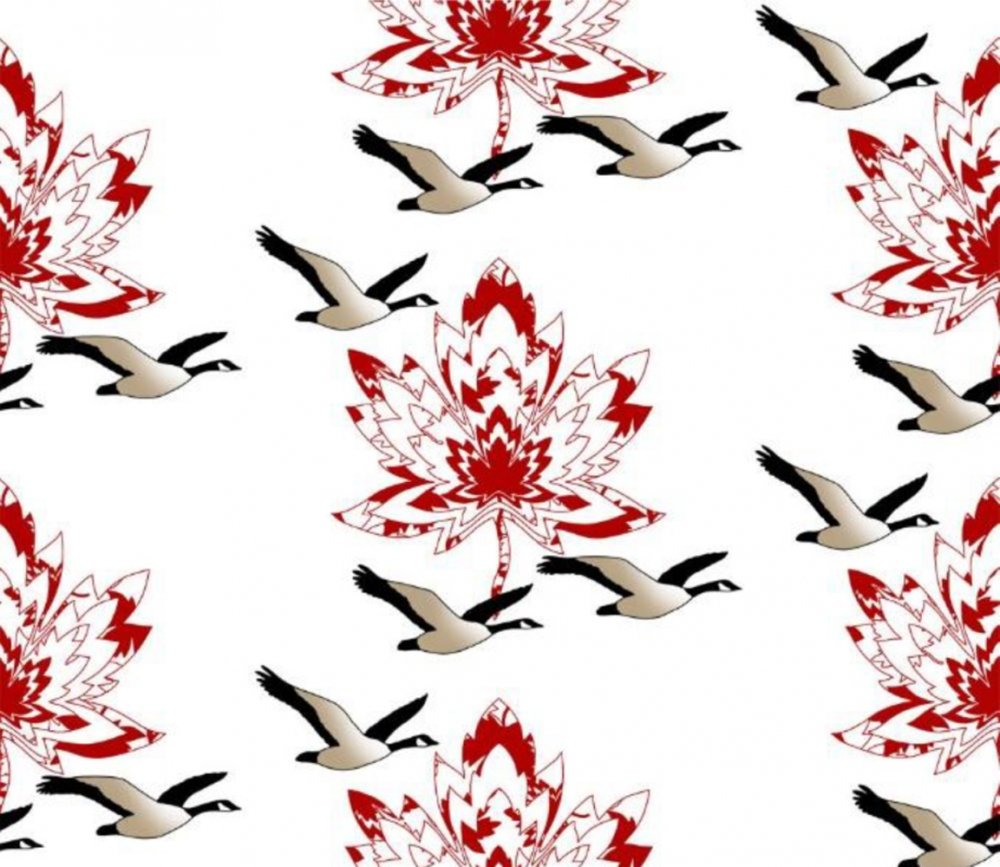 Canada by Shania Sunga - Canadian Maples - Geese - Minky - Red