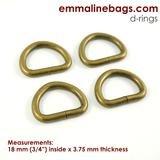 Emmaline - D-Ring: 3/4 (20mm) - Antique Brass 4ct