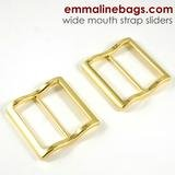 Emmaline - Strap Slider Wide Mouth: 1 1/2 (38mm) Gold 2ct