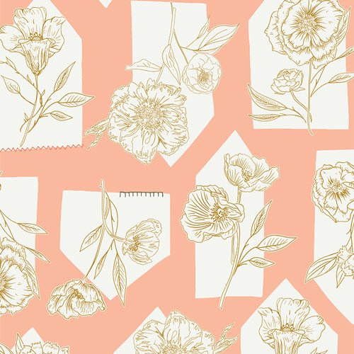 Art Gallery Fabrics - Gathered - Floret Roost Petal - Peach