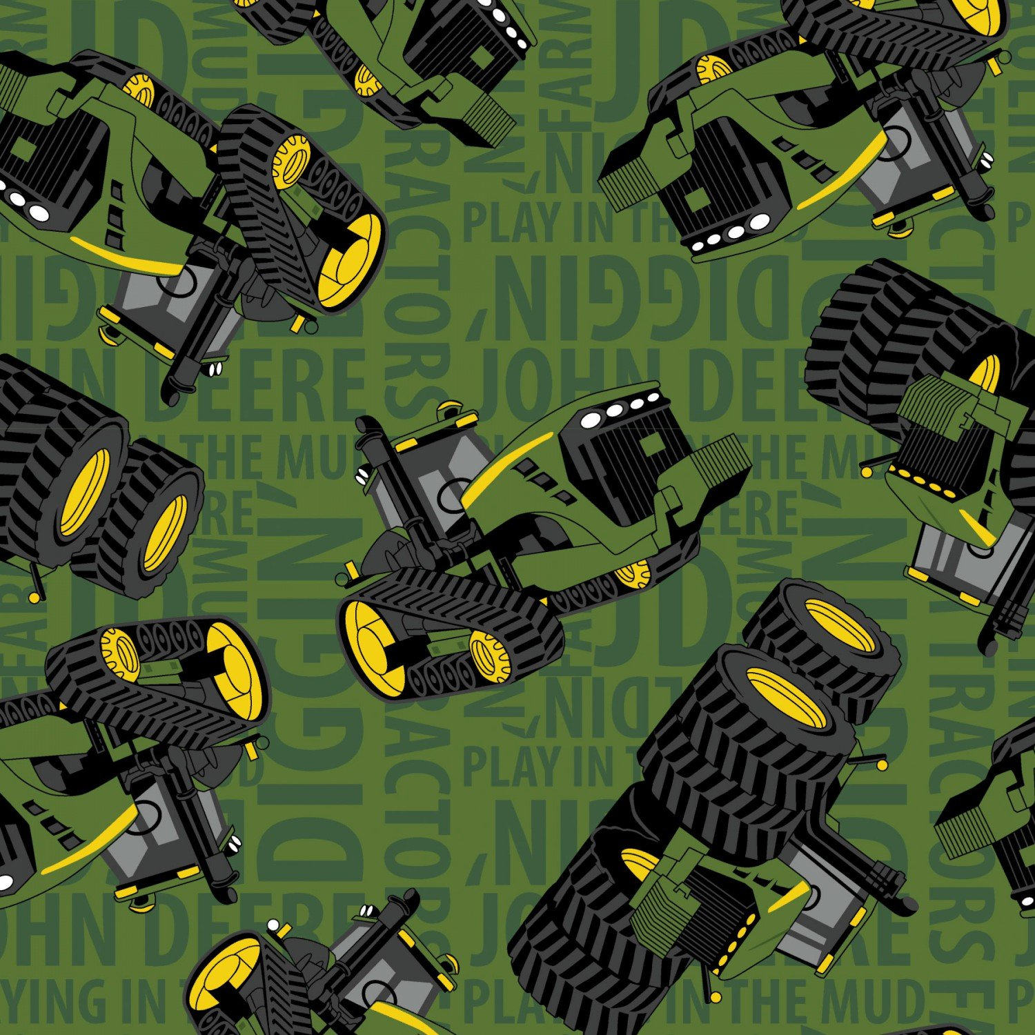 Springs Creative -  John Deere Tractors on Text Green
