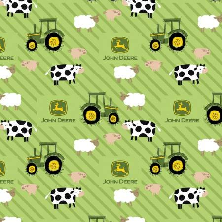 International Textiles -  John Deere Tractor Animals on Stripes Flannel