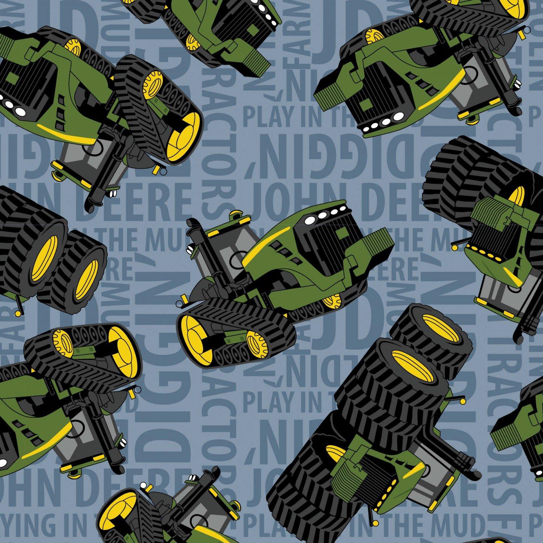 Springs Creative -  John Deere Tractors on Text Blue