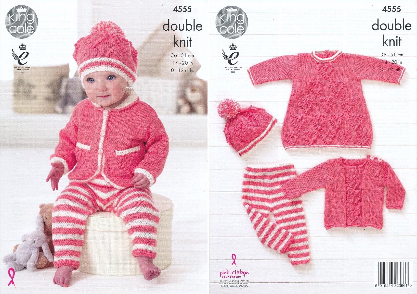 "King Cole 3773 Baby/'s Dress Jacket /& Hat DK Knitting Pattern Sizes 12-20/"""