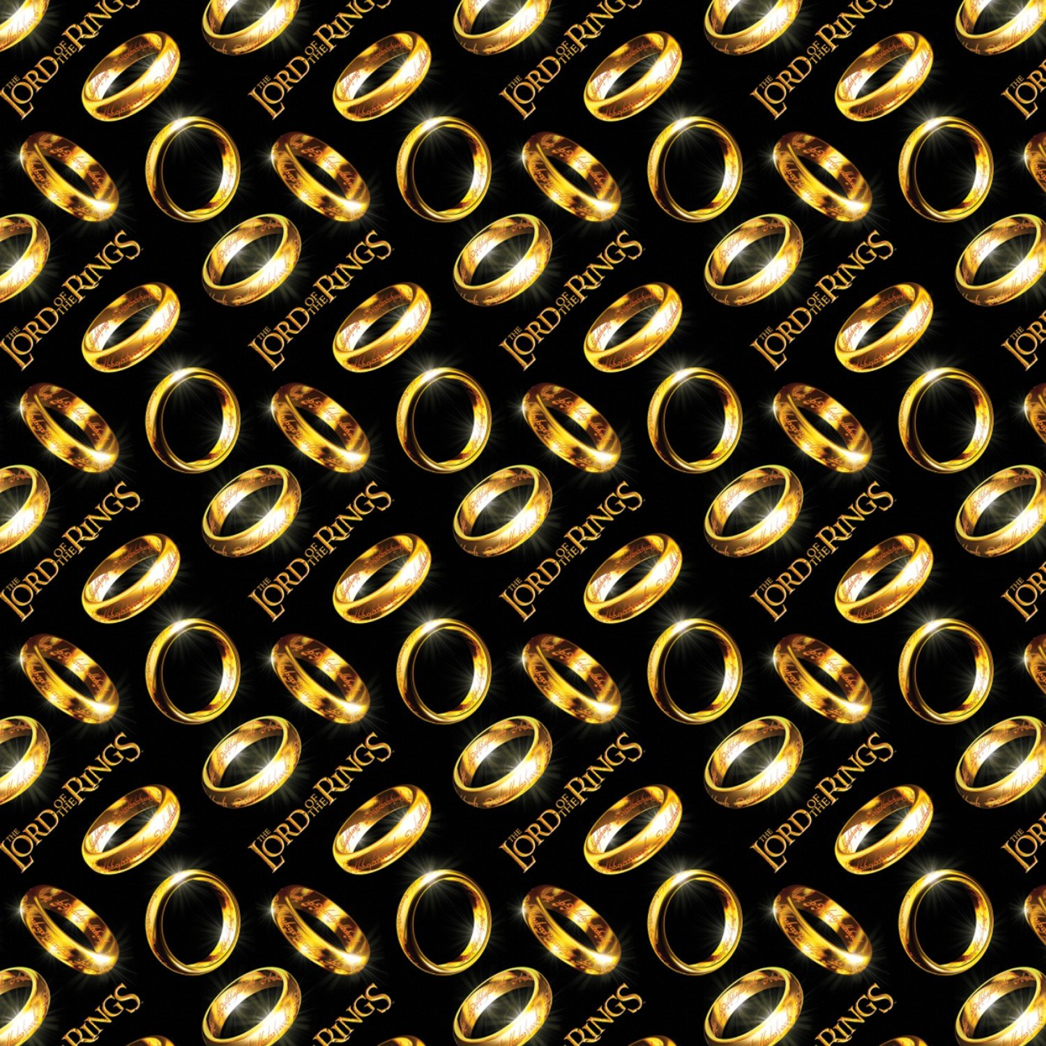 Camelot Fabrics - The Lord of the Rings & The Hobbit - Lord of The Rings Diagonal Rings - Black