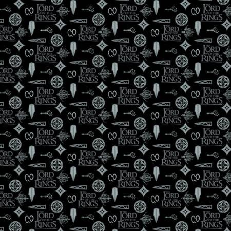 Camelot Fabrics - The Lord of the Rings & The Hobbit -  Lord of The Rings Symbols - Black