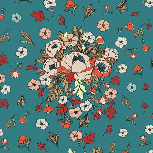 Art Gallery Fabrics - Love Story - Soulmate Blooms Lust - Teal