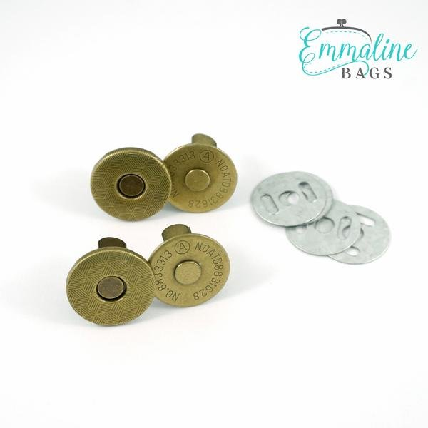 Emmaline - Magnetic Snap Closures: 3/4 (18 mm) SLIM Antique Brass 2ct